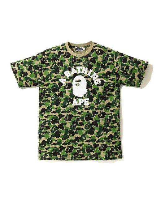 c3f6ace4 A Bathing Ape Abc College Tee Green in Green for Men - Lyst