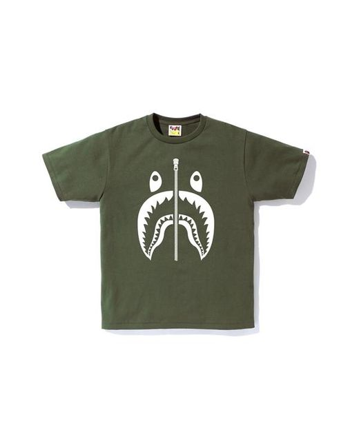 bbe035e7 Lyst - A Bathing Ape Bicolor Shark Tee Olive Drab in Green for Men