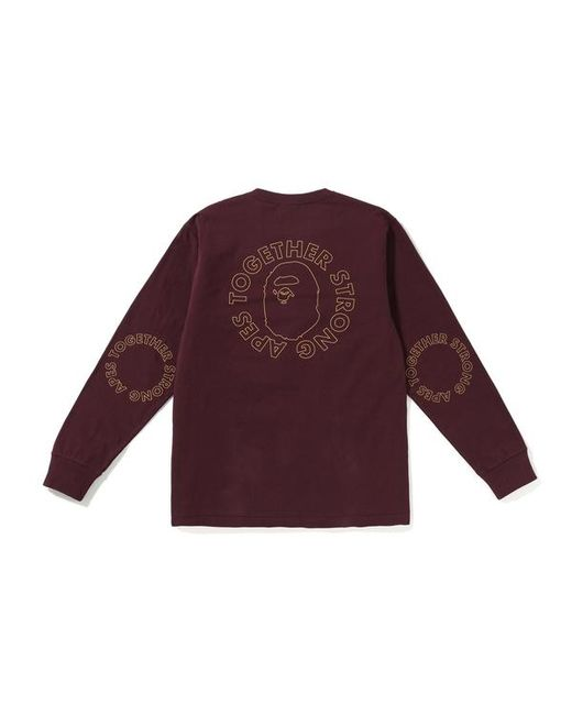 9a8c4b46 A Bathing Ape Ats Circle Ls Tee Burgundy in Purple for Men - Lyst