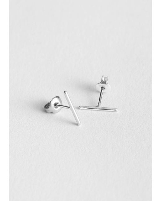 & Other Stories - Metallic Thin Bar Studs - Lyst