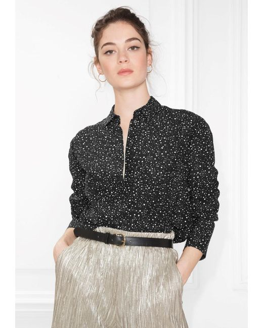 Other Stories Button Down Silk Blouse In Black Lyst