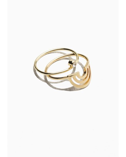 & Other Stories | Metallic Rhinestone Arch Ring Set | Lyst