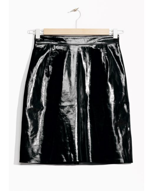 other stories patent leather skirt in black save 50