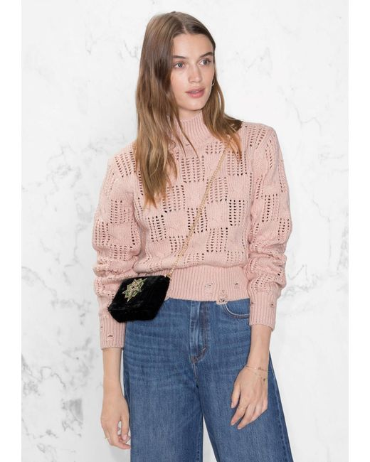 & other stories Mock Neck Sweater in Pink | Lyst