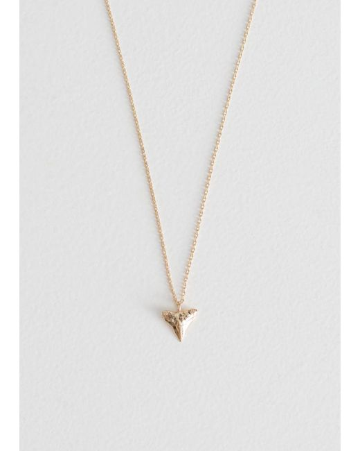& Other Stories - Metallic Shark Tooth Pendant Necklace - Lyst