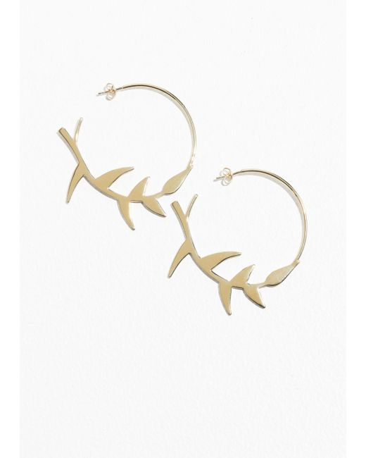 & Other Stories - Metallic Olive Branch Hoop - Lyst