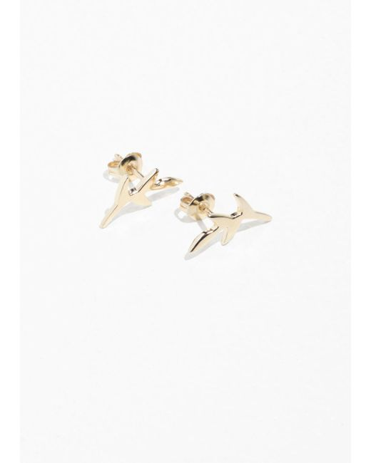 & Other Stories - Metallic Olive Branch Charm Studs - Lyst