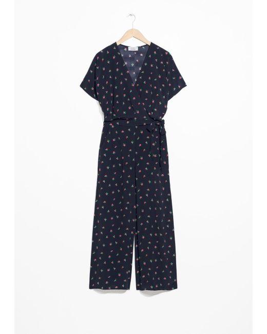 & Other Stories - Blue Tropical Print Wrap Jumpsuit - Lyst