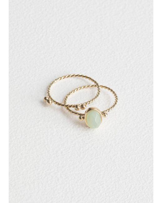 & Other Stories - Metallic Round Stone Ring Set - Lyst