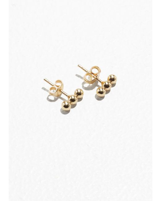 & Other Stories - Metallic Trio Ball Stud Earrings - Lyst