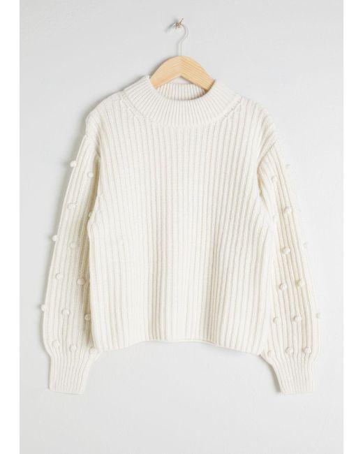 & Other Stories - White Pom Pom Sleeve Sweater - Lyst