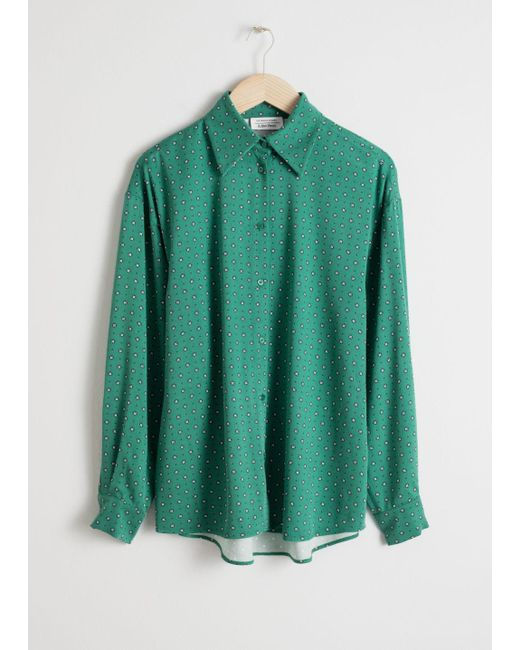 & Other Stories Green Printed Button Up Shirt