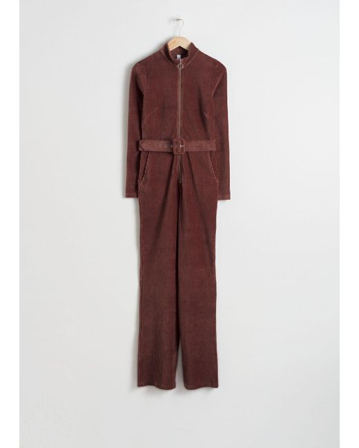 & Other Stories - Brown Belted Corduroy Jumpsuit - Lyst