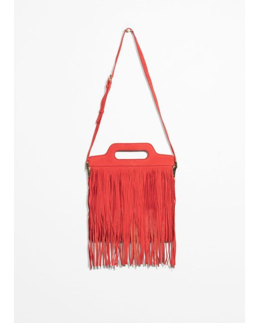& Other Stories - Red Fringe Suede Shoulder Bag - Lyst