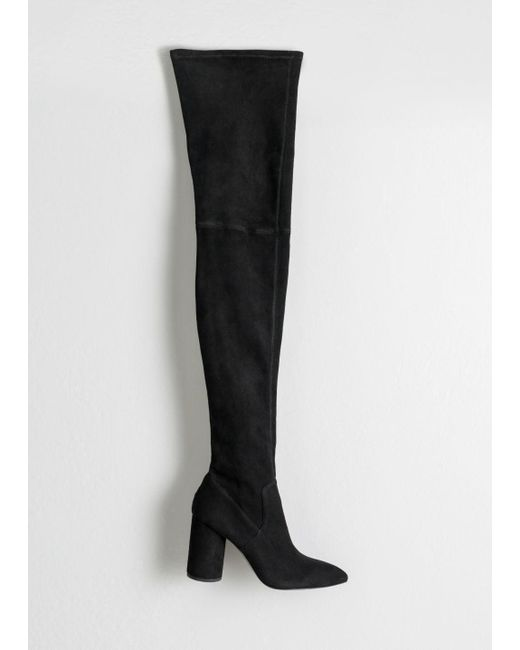 65e5a2a28bf Lyst -   Other Stories Suede Thigh High Boots in Black