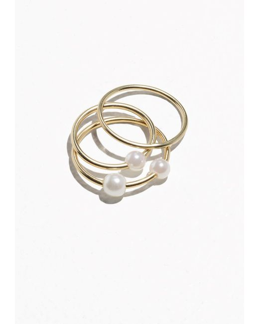 & Other Stories | Metallic Trio Pearl Rings | Lyst