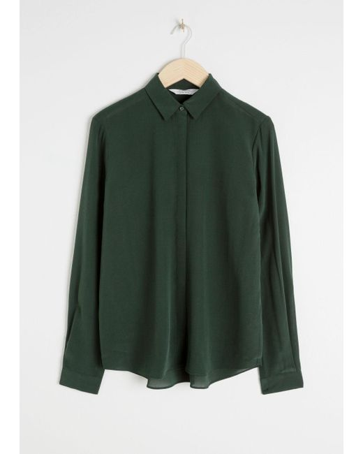 & Other Stories - Green Straight Fit Silk Shirt - Lyst