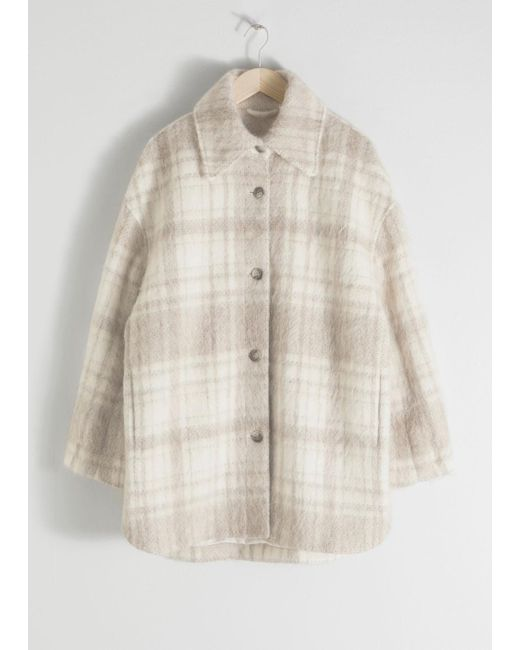 & Other Stories - White Oversized Wool Blend Plaid Overshirt - Lyst