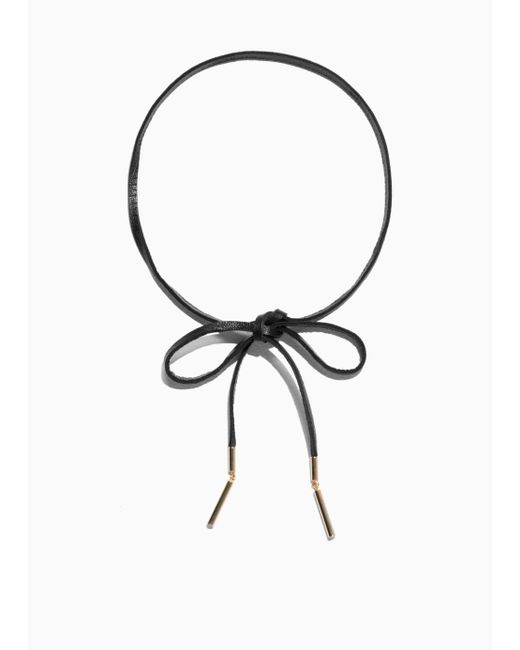 & Other Stories - Black Leather Tie Necklace - Lyst