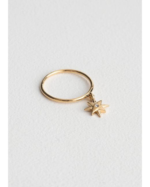 & Other Stories - Metallic Dangling Star Charm Ring - Lyst