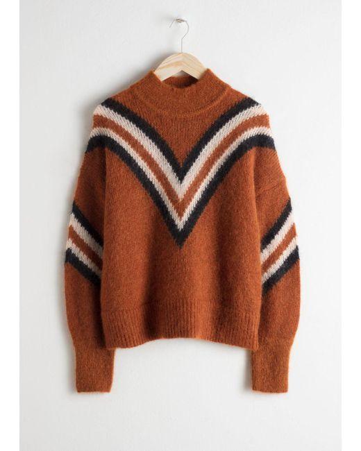 & Other Stories - Natural Mock Neck Varsity Stripe Sweater - Lyst