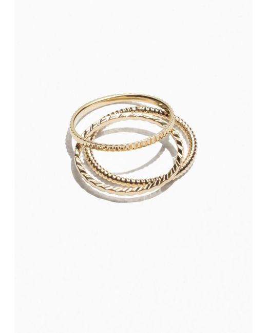 & Other Stories - Metallic Stack & Layer Ring Set - Lyst