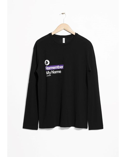 & Other Stories | Black Remember My Name Long Sleeve T-shirt | Lyst
