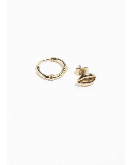 & Other Stories - Metallic Mismatch Puka Shell Set Earrings - Lyst