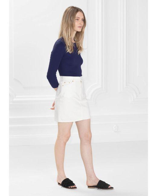 other stories denim skirt in white lyst