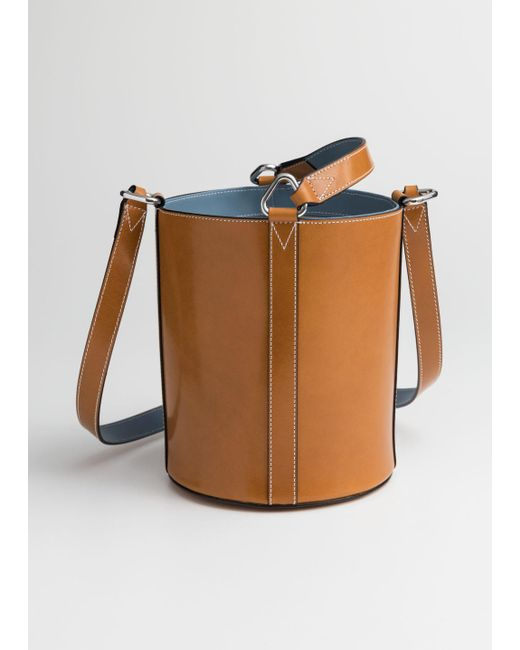 & Other Stories - Natural Structured Leather Bucket Bag - Lyst