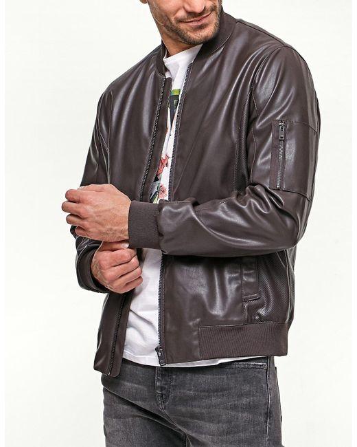 Stradivarius | Brown Leather-look Bomber Jacket for Men | Lyst