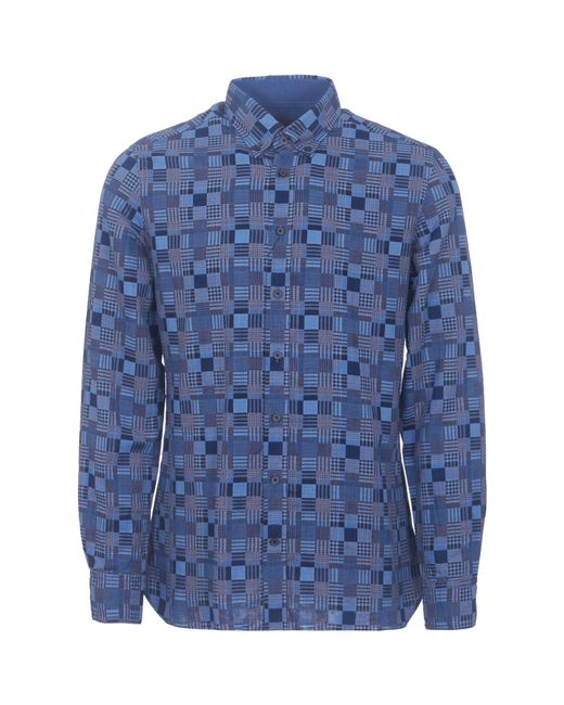 Hackett - Blue Patchwork Weave Shirt for Men - Lyst