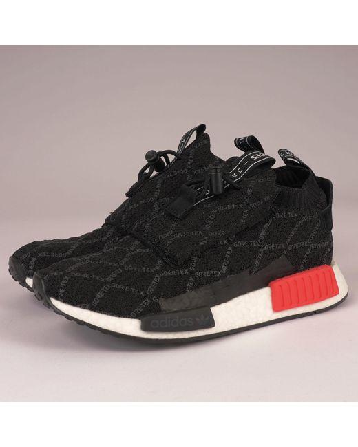 sale retailer 612b8 79fbb Adidas Originals - Nmdts1 Primeknit Gtx - Core Black, Carbon  Shock Red for  Men ...