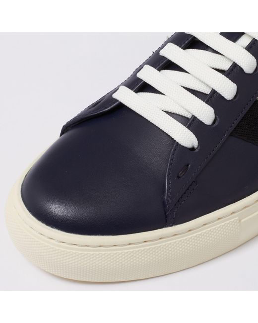 Helvio Blue, Mens leather trainer in ink Bally