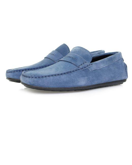 HUGO - Boss Dandy Moccasin Medium Blue Shoe for Men - Lyst