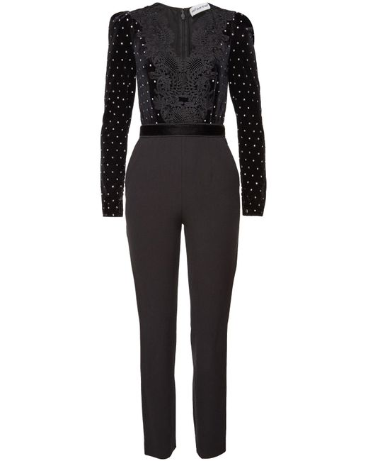 Self-Portrait - Black Guipure Lace-trimmed Embellished Velvet And Crepe Jumpsuit - Lyst