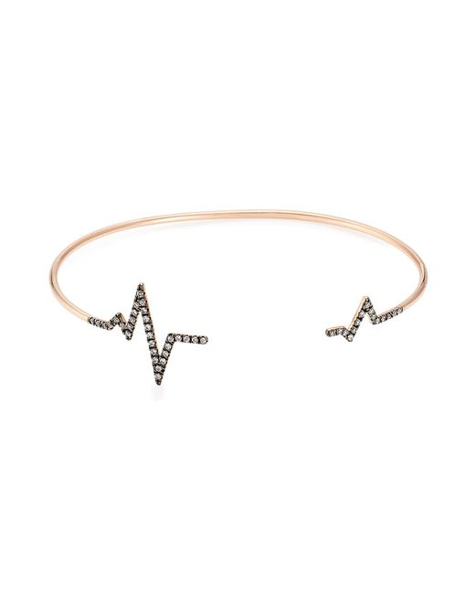 Diane Kordas - Metallic Heartbeat 18kt Rose Gold Bracelet With White Diamonds - Lyst