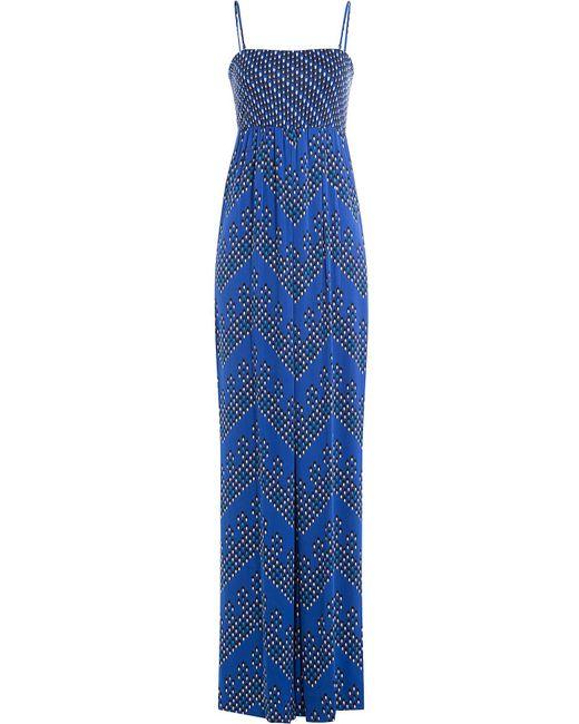 Diane von Furstenberg - Blue Silk Jersey Printed Jumpsuit - Lyst