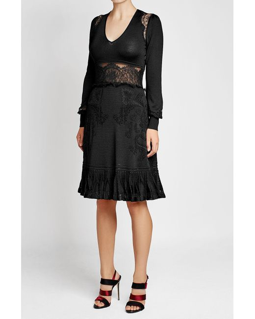 Roberto Cavalli | Black Dress With Virgin Wool And Lace Inserts | Lyst