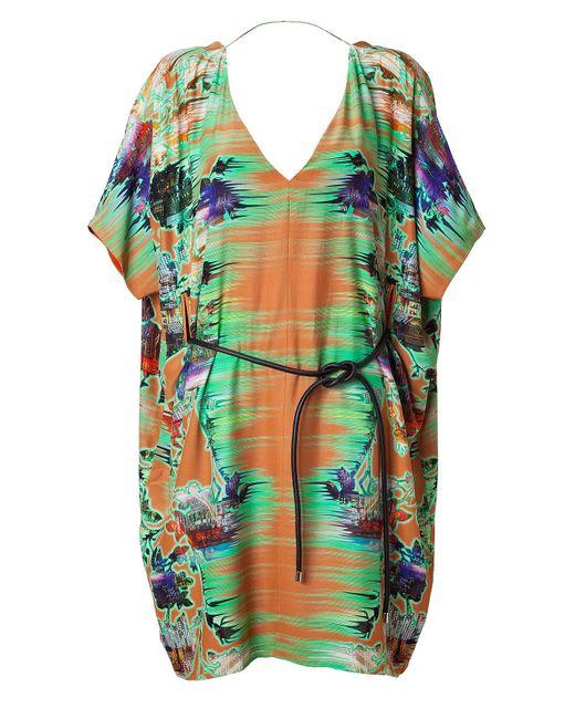 Matthew Williamson | Green Rust Belted Kimono Dress | Lyst