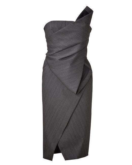 Donna Karan | Black Anthracite Structured Origami Bustier Dress | Lyst