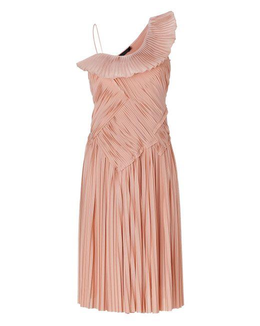 donna karan blush one shoulder pleated dress in pink lyst. Black Bedroom Furniture Sets. Home Design Ideas