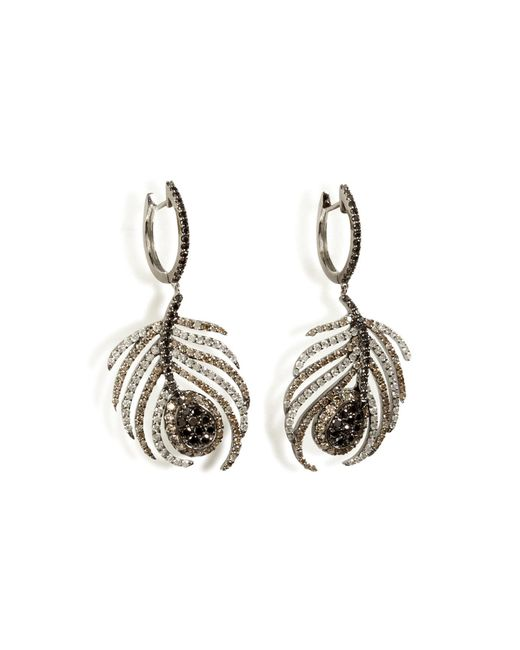 Nikos Koulis | Black Rhodium/diamond Paradise Peacock Earrings | Lyst