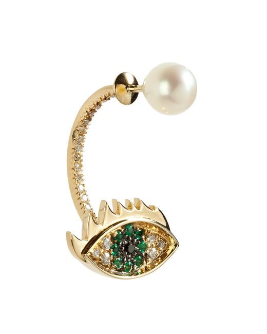 Delfina Delettrez | Metallic Gold Cartoon Eye And Pearl Earring | Lyst