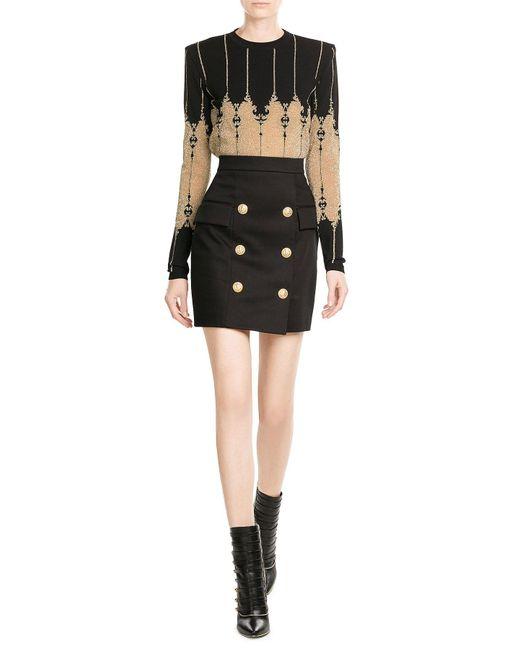 Balmain | Black Knit Pullover With Metallic Thread | Lyst