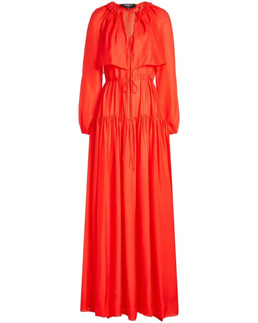 Paule Ka - Red Silk Chiffon Dress - Lyst
