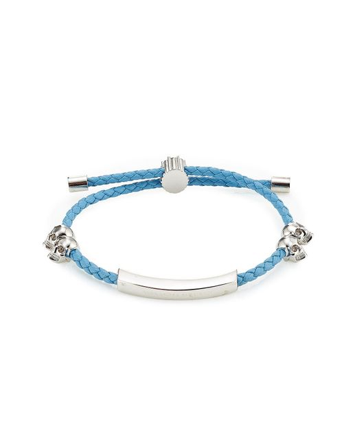 Alexander McQueen - Blue Leather Bracelet With Skull Motifs - Lyst