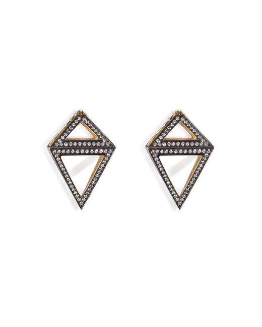 Noor Fares | Metallic 18k Gold Octahedron Earrings With White Diamonds | Lyst