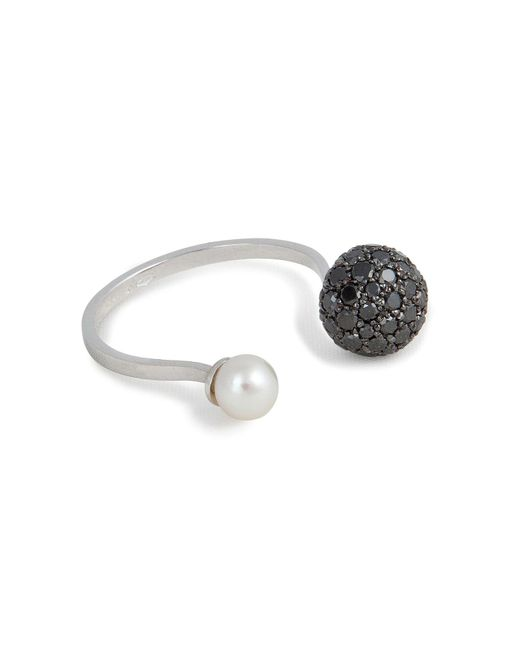 Delfina Delettrez | 18kt White Gold Sphere Ring With Black Diamonds And Pearl | Lyst