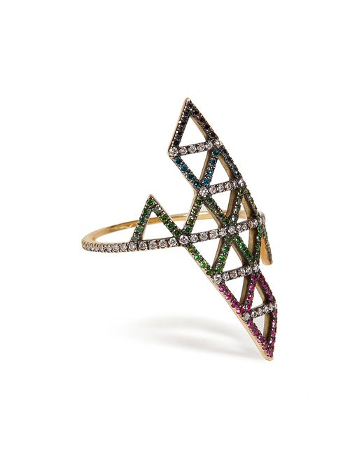 Lito | Metallic Gold, Diamond, And Tsavorite Triangle Ring | Lyst
